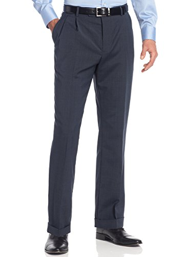 Nautica Double Pleated Navy Plaid Wool Blend Textured New Men Pants (34W x 29L) - New Wool Pants