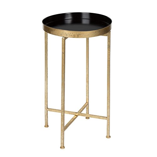 Kate and Laurel Celia Round Metal Foldable Tray Accent Table, Black and Gold (Small Round High Table)