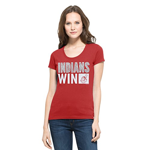 '47 MLB Cleveland Indians Women's Sparkle Scoop Neck Tee, Large, Rescue Red
