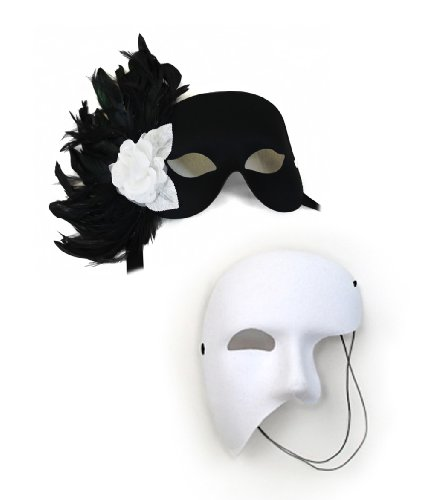 [Rose Garden Black-White Masquerade Masks for a Couple] (Couple Costumes Black And White)