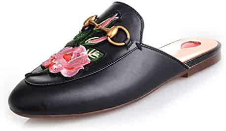 923e5413c36 GEEDIAR Leather Mules Women Shoes Fur Mules and Slides Backless Loafer Slip-on  Slippers with