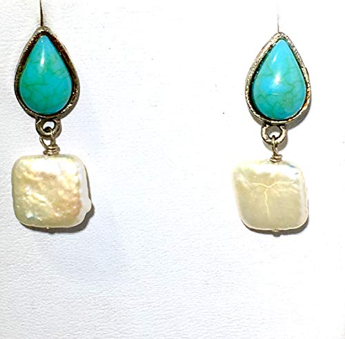 Real Freshwater Cultured White Pearls with Turquoise on Silver Plated Stud Earrings One of a Kind Handmade Piece