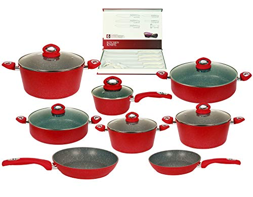 Chef's Star 20 Piece Cookware & Kitchen Knife Set - Nonstick Pots & Pans Set - Expert Thermo-Spot Heat Indicator & Induction Bottom - Dishwasher Safe & Easy To Clean Knives & Cookware - Red