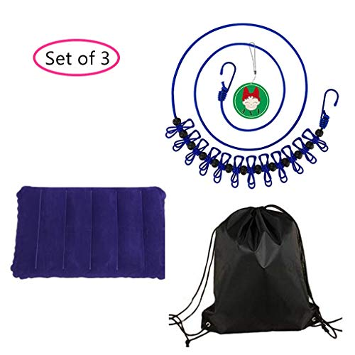 AYZ Outdoor or Camping Set of 3 – 1 Elastic Clothes Drying Line with Pins + 1 Inflating Pillow + 1 Waterproof Bag
