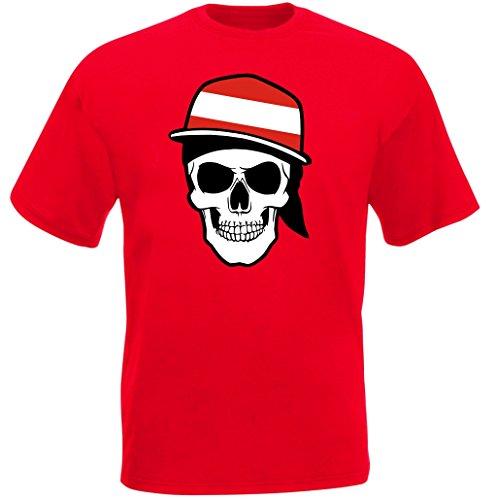 Österreich - T-Shirt - Skullz Fahne - Totenkopf - rot (L)