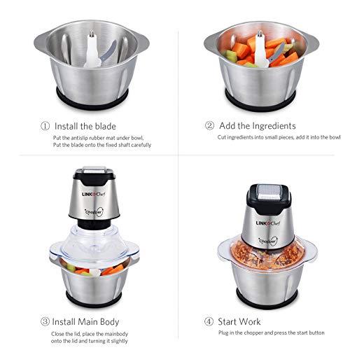 Mini Food Chopper Food Processor Onion Vegetable Garlic Chopper Silver// Black