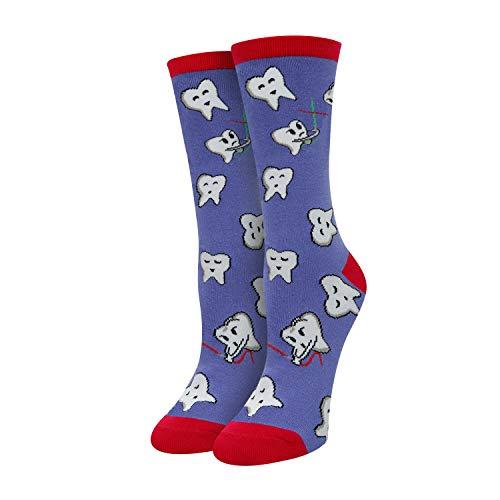SOCKFUN Funny Book Reading Nurse Dental Teeth Alien Socks, Novelty Gifts for Book Lover Dentisit Nurse RN
