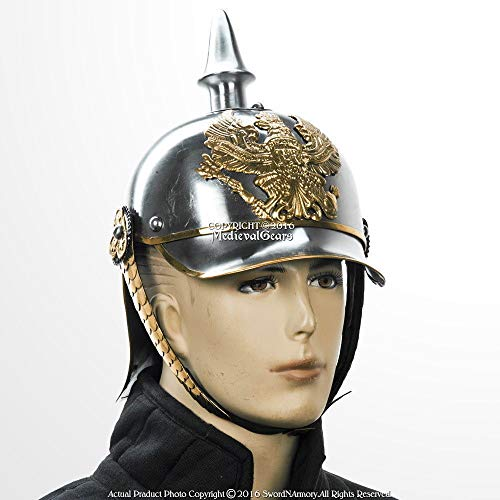 (uniquewonderitems Halloween German Pickelhaube Helmet Prussian Officer Spike Helm w/Brass)