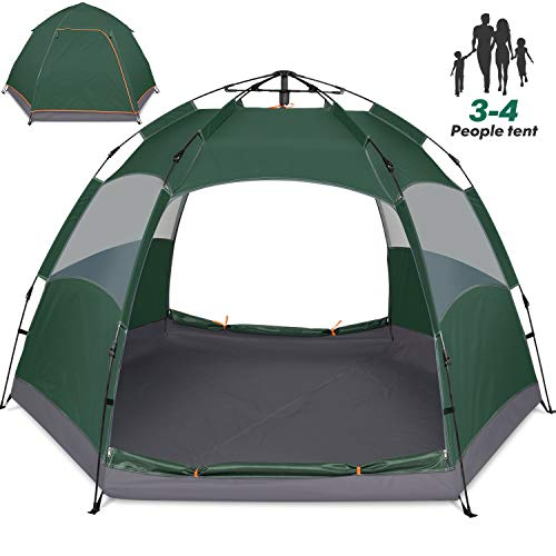 Amagoing 3-4 Person Tents for Camping Instant Setup Tent Double Layer Waterproof for 4 Seasons (Best 12 Person Tent 2019)