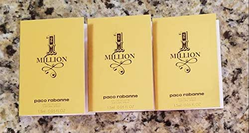 3 Paco Rabanne 1 One Million Men EDT .05 Oz/1.5 Ml Each Spray Sample Vial