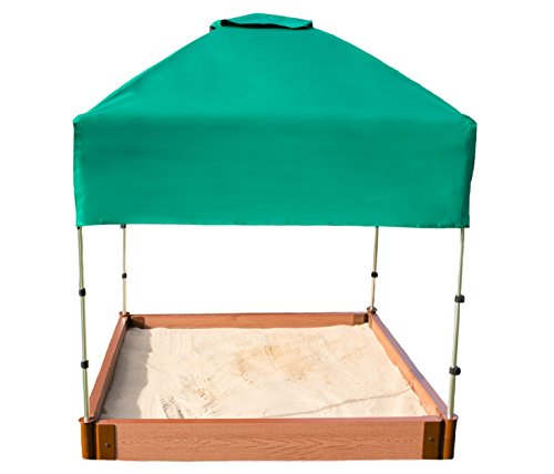 Frame It All Tool-Free Classic Sienna 4ft. x 4ft. x 5.5in. Composite Square Sandbox Kit with Telescoping Canopy/Cover - 2