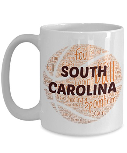 SOUTH CAROLINA GAMECOCKS Basketball mug – coffee tea cup for college sports fan – ceramic team gift -- NCAA college basketball -- 11 ounce or 15 ounce white