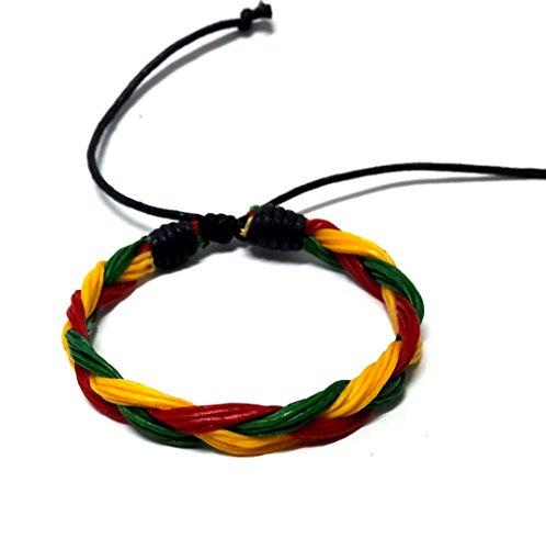 Rasta plaided Hippie Braid Bracelet Wax Cord Hemp Handmade Reggae Jamaican Hawaiien Style -