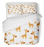 Emvency 3 Piece Duvet Cover Set Brushed Microfiber Fabric Breathable Brown Africa Cute Giraffe Cartoon Scandinavian Childrens for Boy and Girl Bedding Set with 2 Pillow Covers Full/Queen Size