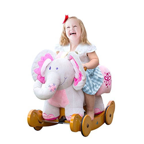 labebe-PlushRockingHorse,PinkRideElephant,StuffedRockerToyforChild1-3YearOld,KidRideOnToyWooden,2In1RockingAnimalwithWheelforInfant/Toddler(Girl&Boy),NurseryBirthdayGift
