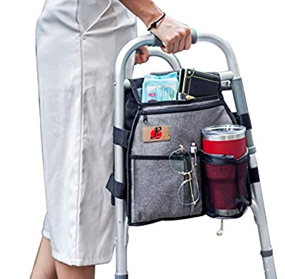 Side Walker Double-Sided Attachments Bags with Cup Holder for Folding Walker by P&F | Hanging Pouch for Walkers | Adult Folding Walker Accessories for Seniors or Elderly