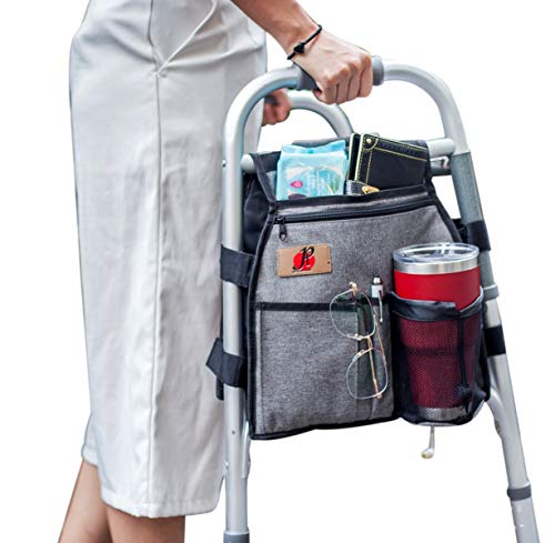 Side Walker(Double Sided) Attachments Bags with Cup Holder for Folding Walker by P&F | Hanging Pouch for Walkers | Adult Folding Walker Accessories for Seniors or Elderly (Gray)