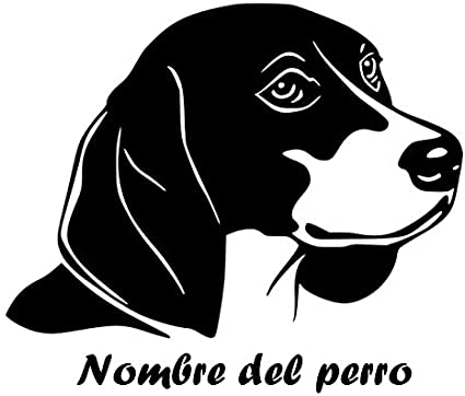ONETOTOP Perro para Mascotas Etiqueta de la Pared Beagle Heas Nombre Personalizado Tatuajes de Pared Nombre del Perro Personalizado Decoración de la Ventana Home Decoration56 * 42 cm