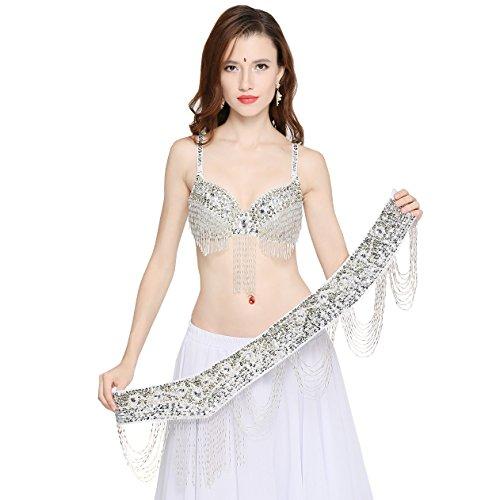 Dance Fairy Soutien Gorge Strass Dance Oriental 34C / 75C ou 34D/75D ou 36D / 80D avec Ceinture Paillettes 36D/80D Blanc