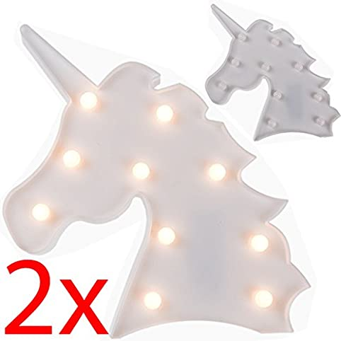 2 X UNICORN HEAD LED LETTER TABLE LAMP NIGHT LIGHT CHILDREN GIFTS ...