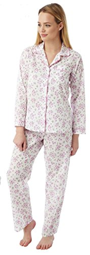 Damas Marlon poli algodón manga larga floral pijama MN15 Pink Sprig
