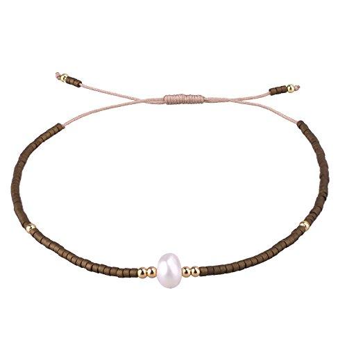 (C·QUAN CHI Braided String Strand Bracelets Women Girls Woven Beach Anklet Handmade Braided Adjustable-Best Friends Bracelets)