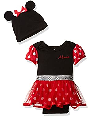 Baby Girls' Minnie Mouse Costume Dress up Tutu Bodysuit and Cap