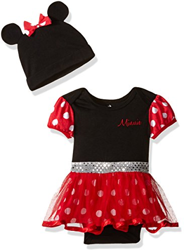 Disney Baby Girls' Minnie Mouse Costume Dress up Tutu Bodysuit and Cap, Red, 6-9 Months