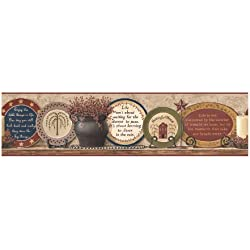 York Wallcoverings Best Of Country HK4675BD Country Plates Border, Khaki/Burgundy