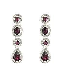 EleQueen Women's Austrian Crystal Art Deco Teardrop Bridal Long Dangle Earrings