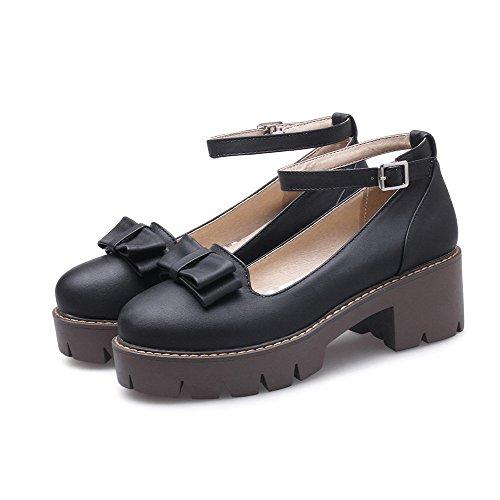 Odomolor AmagooTer Women's PU Closed-Toe Kitten-Heels Buckle Solid Pumps-Shoes Black 0LrVNVAo