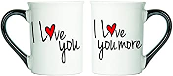 Tumbleweed I Love You, I Love You More Mugs; Set Of Two Coffee Cups,Valentine's Day Gifts, Valentine Mugs