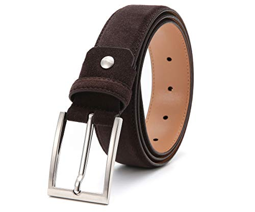 Ground Mind Men's Suede Leather Belt,34,Dark Brown