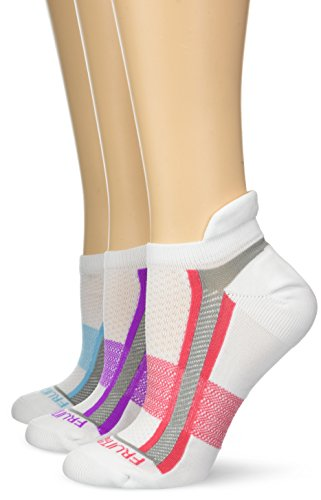 (Fruit of the Loom Women's Big and Tall Breathable No Show Tab Socks-3 Pair Pack, White, Blue, Purple, Pink, Shoe Size: 8-12)