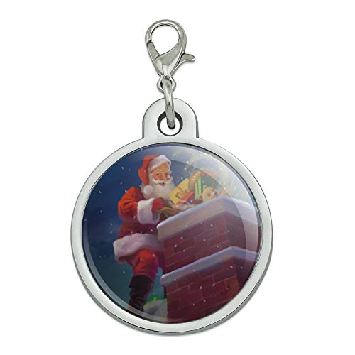 (GRAPHICS & MORE Christmas Holiday Santa Going Down The Chimney Chrome Plated Metal Pet Dog Cat ID Tag - Large)