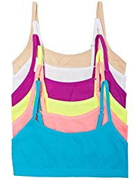 CC 6 Pack Girls Seamless Training Bra with Adjustable Straps (Large, 6PK Brights)
