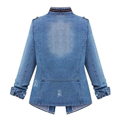 Festa Outerwear Forti Taglie Vintage Cappotto Donna Relaxed Giacca Blau Distressed Maniche Casual Zip Ragazze Moda Style Jeans Eleganti Jacket Autunno Lunghe Invernali qHqpztx