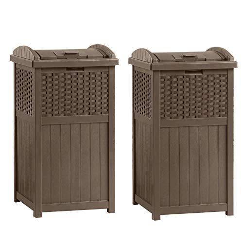 Suncast GHW1732 Home Outdoor Patio Resin Wicker Trash Can Hideaway (2 Pack) (Boxes Cheap Wicker)