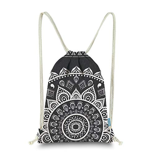 Miomao Drawstring Backpack Gym Sack Pack Mandala Style String Bag With Pocket Canvas Sinch Sack Sport Cinch Pack Christmas Gift Bags Beach Rucksack 13 X 18 Inches Black -