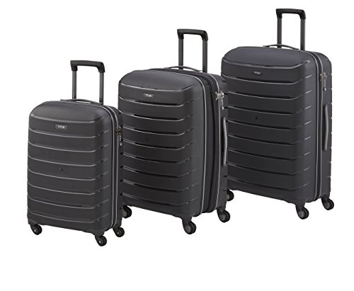 Titan Luggage & Travel Gear Limit 3 Piece Polypropylene Unbreakable Spinner Set-30, 27', 21', Black