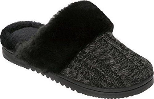 Dearfoams Women's Marled Cable Knit Closed Toe Scuff Slipper,Dark Heather Grey,U (Marled Cable)