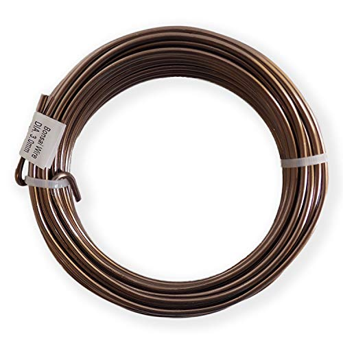 Anodized Aluminum 3.0mm Bonsai Training Wire 250g Large Roll (40 feet) - Choose Your Size and Color (3.0mm, Brown)