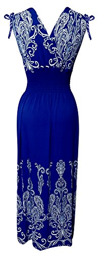 Peach Couture Women's Trendy Paisley Bordered Smocked Maxi Summer Spring Dress (Small, Blue and White)