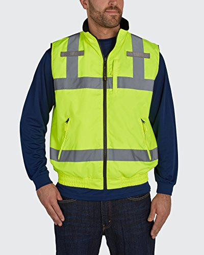 (Utility Pro UHV1001 Nylon/Polyester High-Visibility Full Zip Reversible Vest, 2X-Large, Lime)