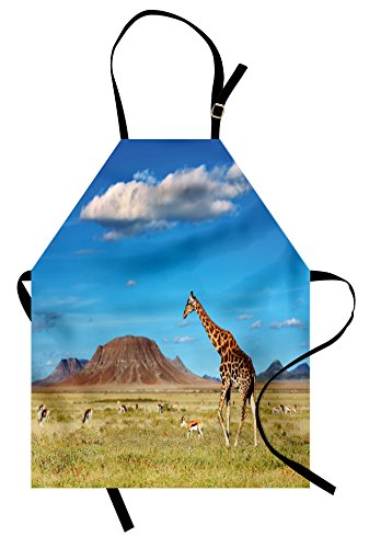 Lunarable Safari Apron, African Savanna with Giraffe and Grazing Antelopes Volcano Summer Picture, Unisex Kitchen Bib Apron with Adjustable Neck for Cooking Baking Gardening, Sand Green
