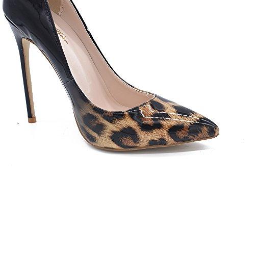Genshuo Damesmode Spitse Neus Leopard Geprinte Pumps Hoge Hak Stilettos Sexy Slip-on Jurk Schoenen Bruin Zwart Gradiënt Leopard