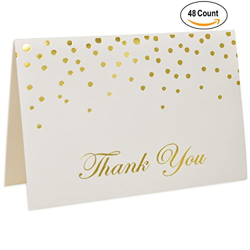 Gold Foil Dots Thank You Cards, Set of 48 by Gift (Foil Dots)