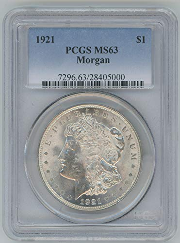 1921 P Morgan Silver Dollar $1 MS63 PCGS