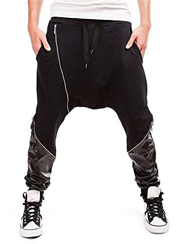 SITENG Men Casual Harem Drop Crotch Zip up Stitching PU Jogger Sport Pants Men(US M,Black)