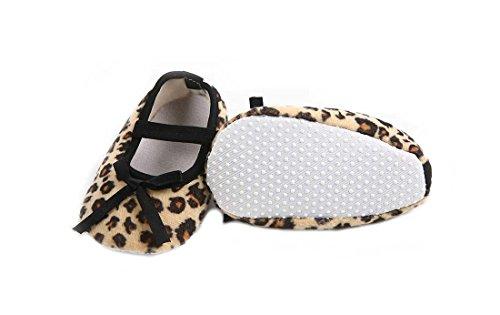 CHIC * MALL Fashion recién nacidos Infant Leopard Marrón lazo antideslizante Baby Soft Crib Shoes, color, talla 11